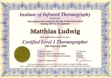 Certified Level 1 Thermographer